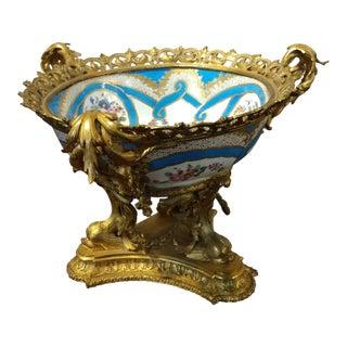 19th Century Beautiful French Sevre Porcelain & Gilt Bronze Center Piece