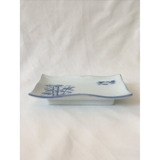 Chinoiserie Blue & White Bamboo Motif Catchall - Image 3 of 6