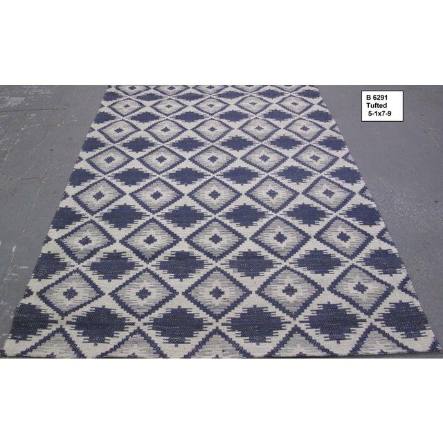Blue/White Jacquard Indian Silk Rug - 5′1″ × 7′9″ - Image 2 of 5