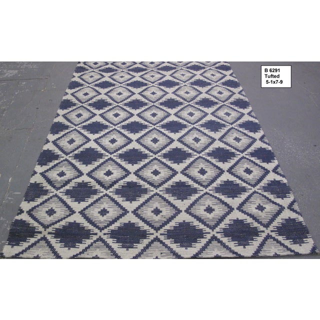 Image of Blue/White Jacquard Indian Silk Rug - 5′1″ × 7′9″