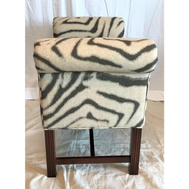 Zebra Print Scroll Arm Bench - Image 4 of 4
