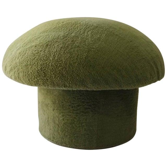 1960s Fleece Covered Green Ottoman - Image 1 of 3