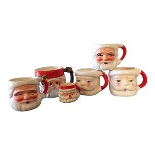 Vintage Mismatched Santa Mugs - Set of 6