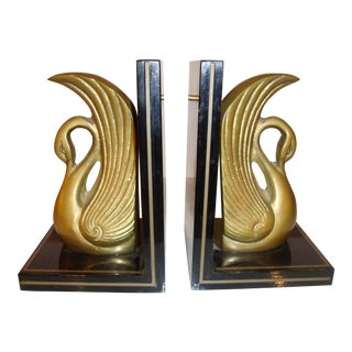 Metal Art Deco Swan Book Ends - A Pair