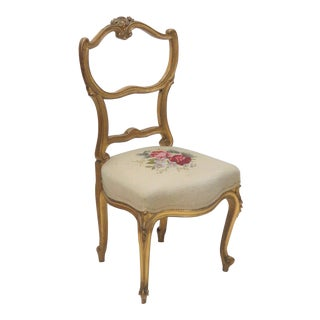 Louis XV Style Gilt Carved Needlepoint Side Chair