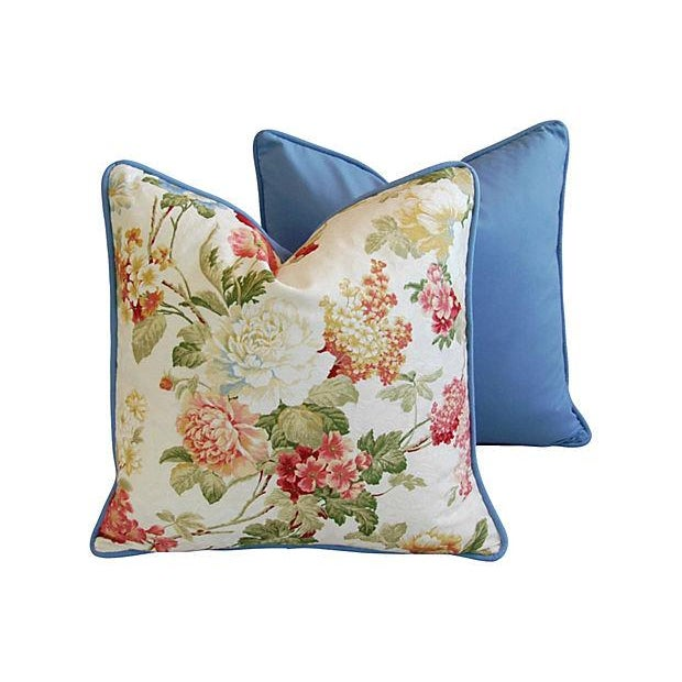 Designer English Jacquard Floral Pillows - Pair - Image 5 of 7