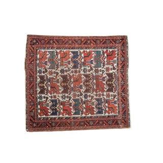 """Antique Afshar Square Rug - 4' x 4'5"""""""