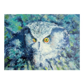 Night Owl in Blue Painting by R. Pommier