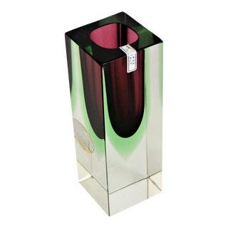 Vintage Italian Mandruzzato Murano Ventian Glass Vase Mid Century Modern MCM Millennial Pink