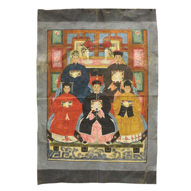 Vintage Chinese Canvas Artwork - Image 1 of 6
