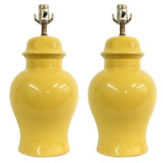 Vintage Yellow Ceramic Ginger Jar Lamps - A Pair