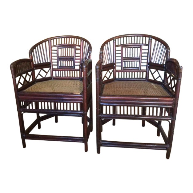 Elegant Bamboo & Rattan Chairs - a Pair - Image 1 of 4