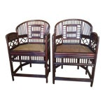 Image of Elegant Bamboo & Rattan Chairs - a Pair