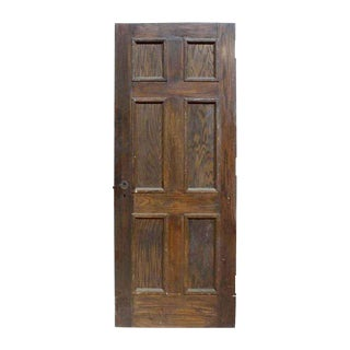 Antique Six Panel Oak Wooden Door