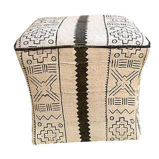 Mud Cloth Upholstered Ottoman