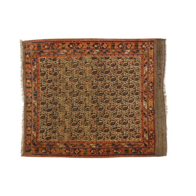 Antique Persian Afshar Carpet - 4' x 4'11'' - Image 1 of 4