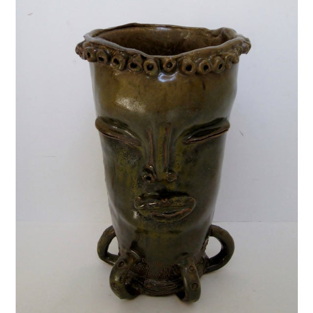 Olive & Brown Artisan Ceramic Vase - Image 3 of 8