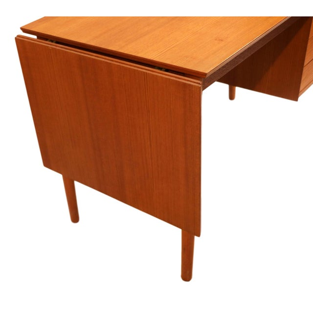 Arne Vodder Mid-Century Danish Teak Drop Leaf Desk - Image 4 of 10