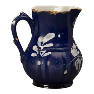 Charming blue glazed pitcher with white decoration from France c.1880