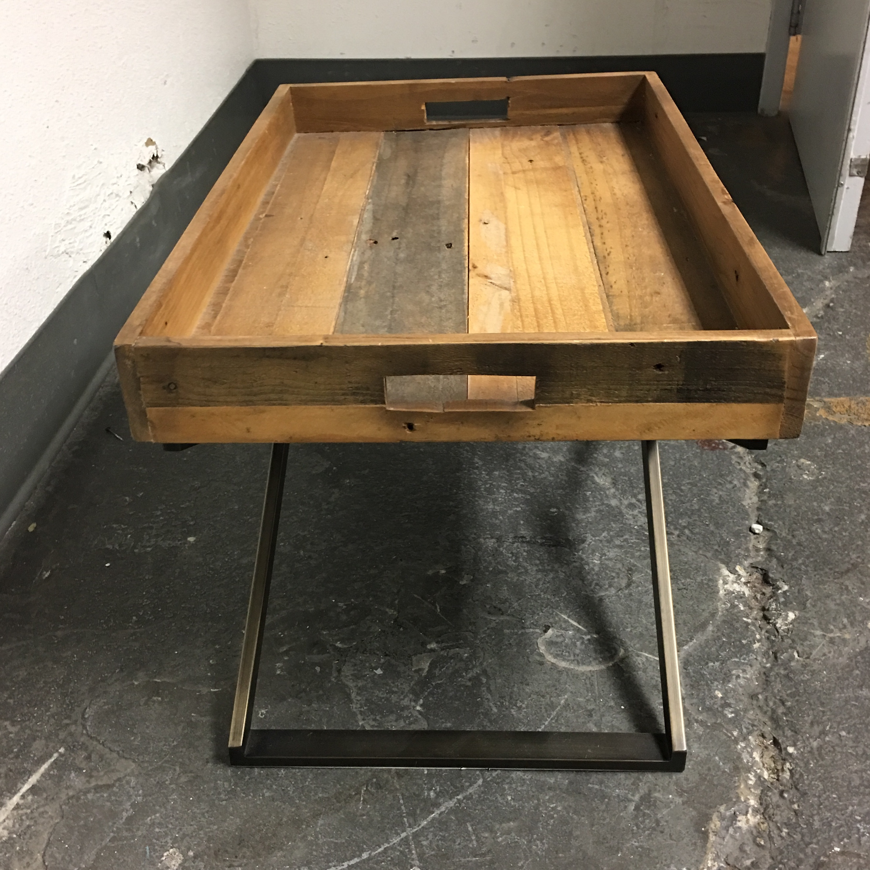 west elm low butler tray coffee table | chairish