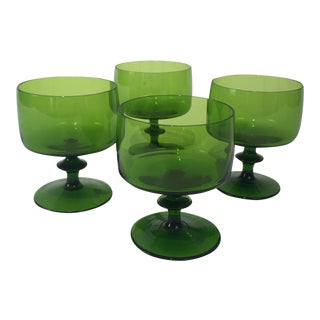 Vintage Green Wine Glasses - 4