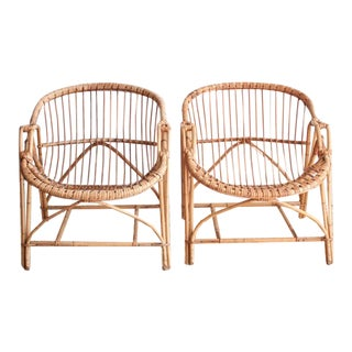 Vintage Rattan & Bamboo Bucket Chairs - A Pair
