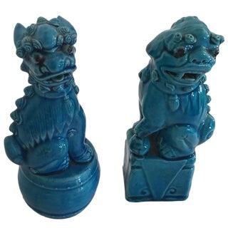 Vintage Turquoise Foo Dogs - Pair