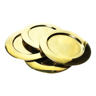 Vintage Gold Aluminum Charger Plates - Set of 4