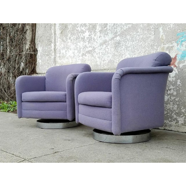 Image of Vintage Lilac Swivel Club Chairs - A Pair