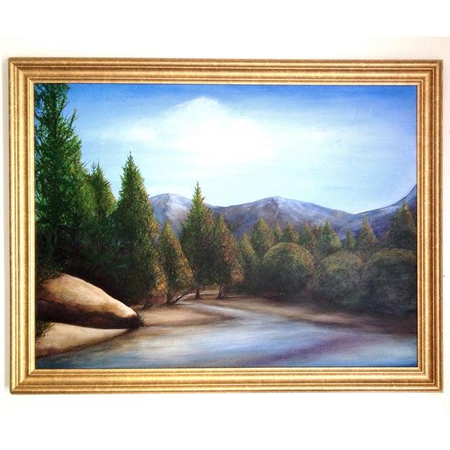 Original Mountain & Stream Landscape Oil Painting - Image 1 of 2