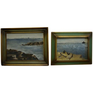 1959 Signed Seascape Oil Paintings - Pair