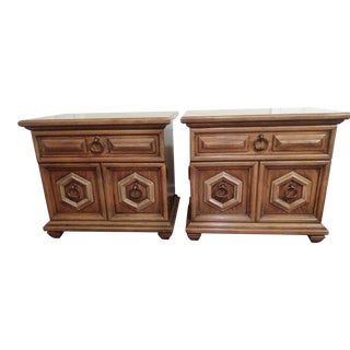 1965 Thomasville Hollywood Regency Walnut Nightstands - a Pair