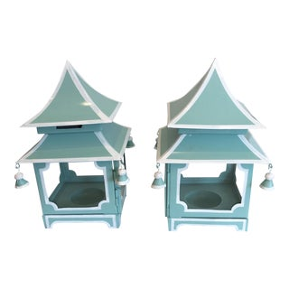 Blue Pagoda Candle Lanterns - A Pair