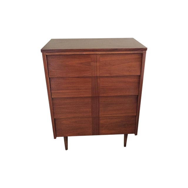 Image of Mid-Century Modern Louvered Highboy Dresser