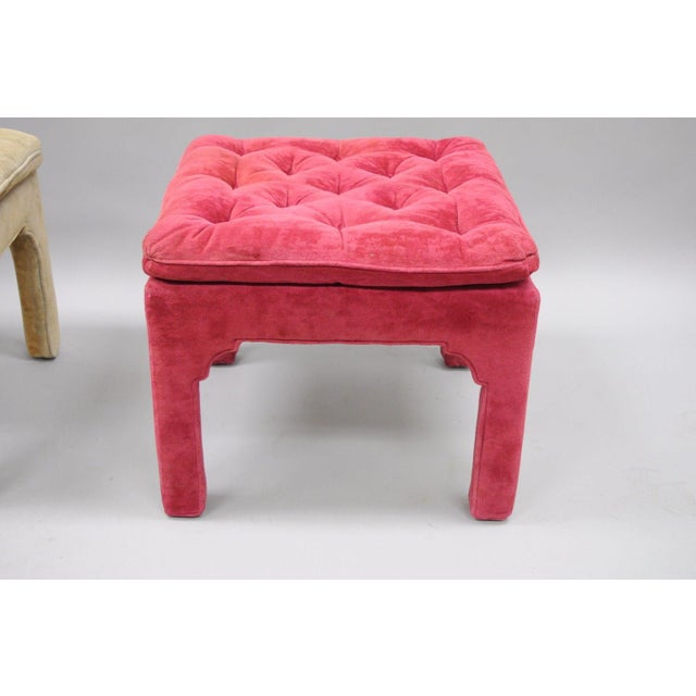 Vintage Hollywood Regency Parson Pink & Beige Stools Upholstered Bench Ottoman - a Pair - Image 8 of 11