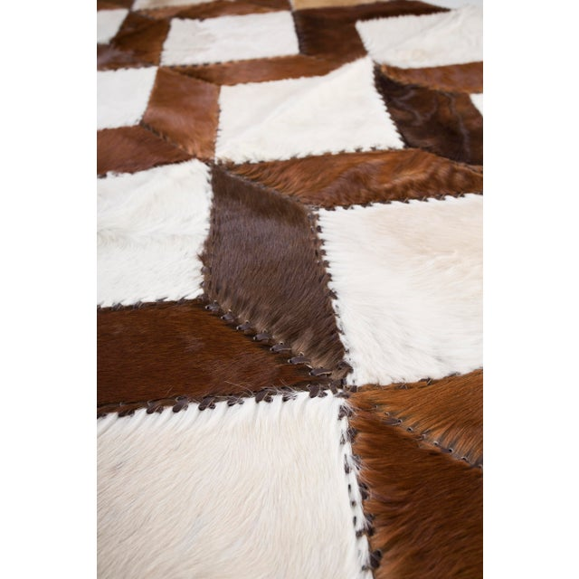 "Square Chevron Cowhide Patchwork Area Rug - 5'5"" x 7'11"" - Image 5 of 8"