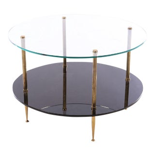 1950s French Mid-Century Glass Top Coffee Table