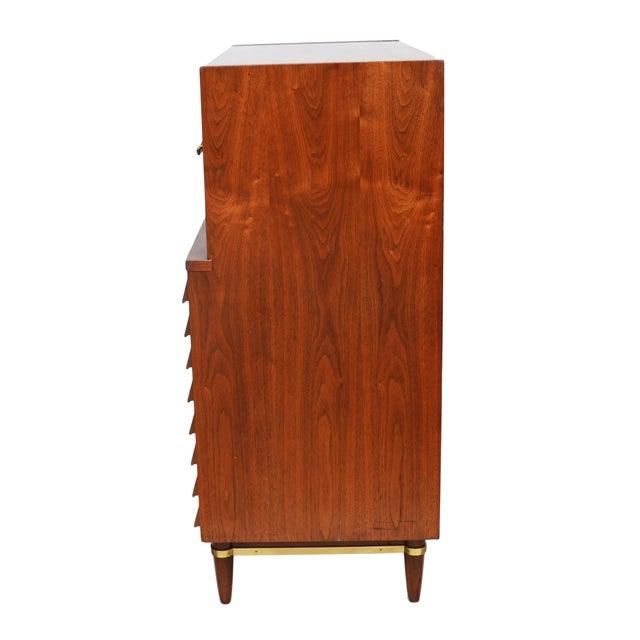 Image of Walnut & Brass Highboy Dresser by Merton Gershun