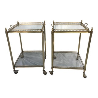 Two Tier Brass Tray Tables - A Pair
