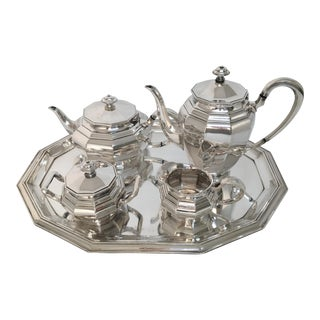 Art Deco Sterling Silver Tea Service Set & Matching Tray