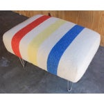 Image of Mid Century Ottoman with Pendleton Upholstery