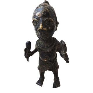 """Benin Bronze Oba King Soldier Nigeria African 7"""" H"""