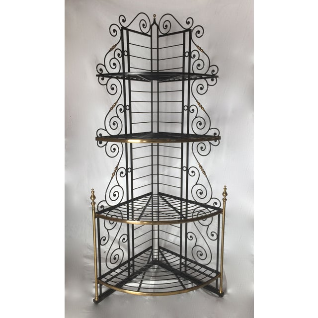 Vintage French Brass And Iron Corner Baker's Rack - Image 2 of 8