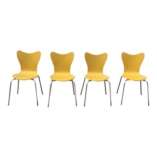 West Elm Yellow Scoop Back Dining Chairs- Set of 4