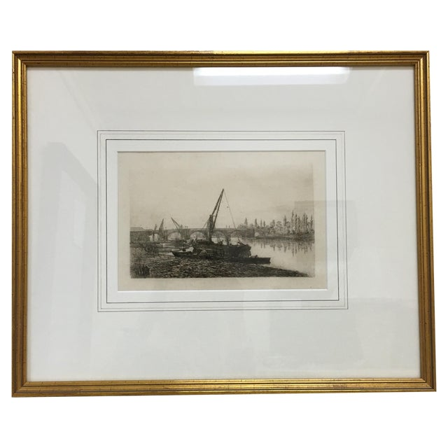 Vintage Framed Riverside Fishing Boat Etching - Image 1 of 7