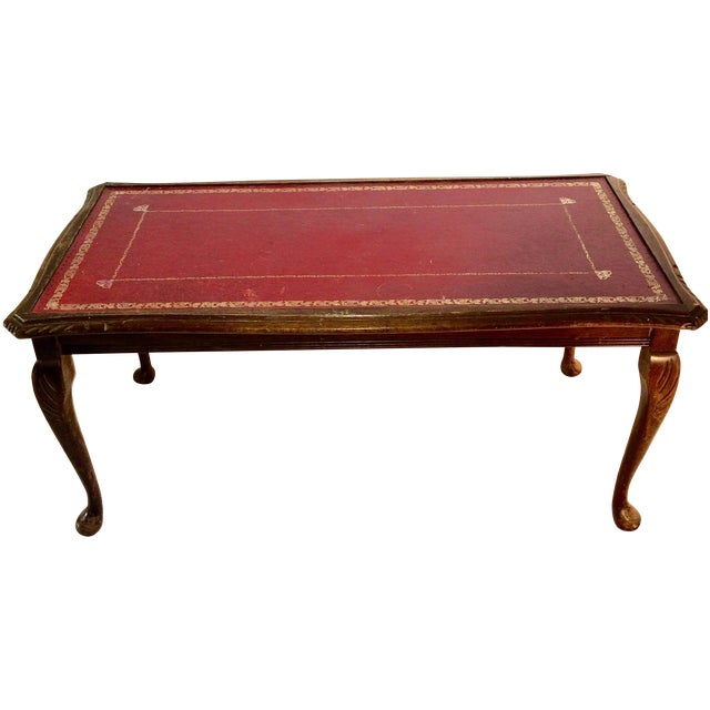 Coffee Table With Leather Top: Vintage Leather Top Coffee Table