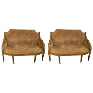 Maitland-Smith Velvet Love Seats - A Pair