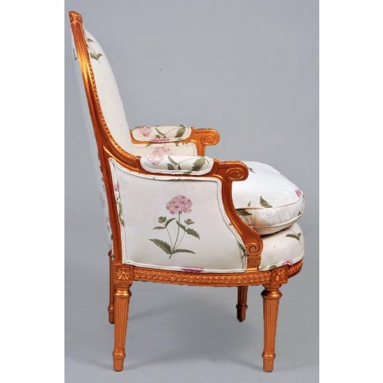 louis xvi style gilt bergere chairs a pair chairish. Black Bedroom Furniture Sets. Home Design Ideas