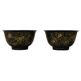 Chinese Golden Floral Graphic Wood Lacquer Bowls - A Pair