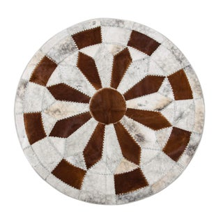 Hair-on-Hide Brown & White Cowhide Patchwork Round Area Rug - 6′7″ × 6′7″
